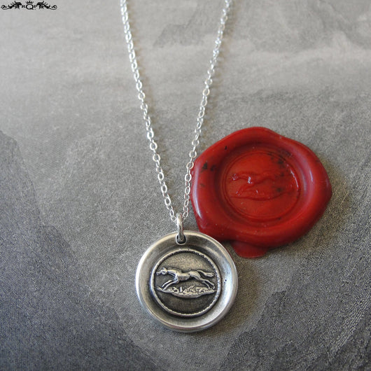 Horse Wax Seal Necklace - equestrian antique wax seal charm jewelry from French seal - galloping horse