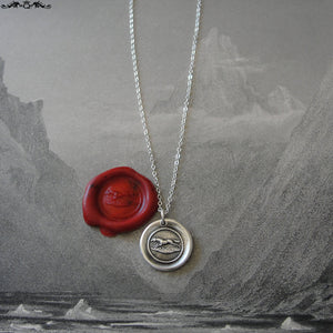 Horse Wax Seal Necklace - equestrian antique wax seal charm jewelry from French seal - galloping horse - RQP Studio