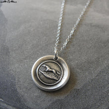 Load image into Gallery viewer, Horse Wax Seal Necklace - equestrian antique wax seal charm jewelry from French seal - galloping horse - RQP Studio