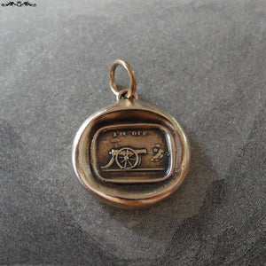 Cannon Wax Seal Charm - antique wax seal jewelry pendant in bronze motto I'm Off - RQP Studio