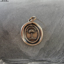 Load image into Gallery viewer, Wax Seal Charm Palm Tree - antique wax seal jewelry in bronze Latin crest motto When Struck I Rise - RQP Studio