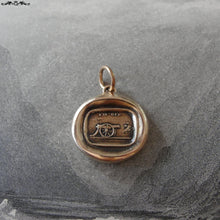 Load image into Gallery viewer, Cannon Wax Seal Charm - antique wax seal jewelry pendant in bronze motto I'm Off - RQP Studio