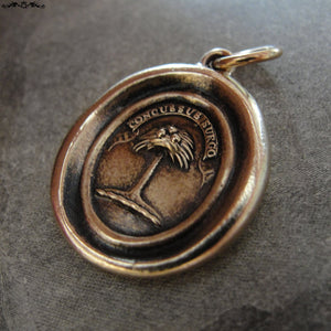 Wax Seal Charm Palm Tree - antique wax seal jewelry in bronze Latin crest motto When Struck I Rise - RQP Studio