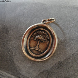 Wax Seal Charm Palm Tree - antique wax seal jewelry in bronze Latin crest motto When Struck I Rise