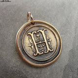 Wax Seal Charm Initial H - wax seal jewelry pendant alphabet charms Letter H