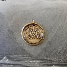 Load image into Gallery viewer, Wax Seal Charm Initial M - wax seal jewelry pendant alphabet charms Letter M - RQP Studio