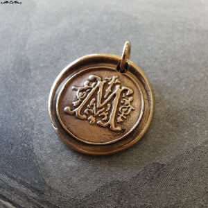 Wax Seal Charm Initial M - wax seal jewelry pendant alphabet charms Letter M - RQP Studio
