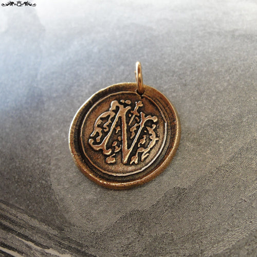 Wax Seal Charm Initial N - wax seal jewelry pendant alphabet charms Letter N - RQP Studio