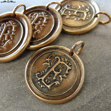 Load image into Gallery viewer, Wax Seal Charm Initial E - wax seal jewelry letter E pendant alphabet in bronze - RQP Studio