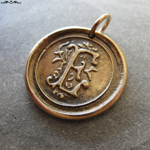 Wax Seal Charm Initial E - wax seal jewelry letter E pendant alphabet in bronze - RQP Studio
