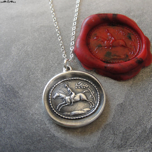 Horse Rider Wax Seal Necklace - equestrian antique wax seal charm jewelry - field riding horse jumping - RQP Studio