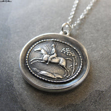 Load image into Gallery viewer, Horse Rider Wax Seal Necklace - equestrian antique wax seal charm jewelry - field riding horse jumping - RQP Studio