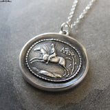 Horse Rider Wax Seal Necklace - equestrian antique wax seal charm jewelry - field riding horse jumping