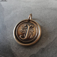 Load image into Gallery viewer, Wax Seal Charm Initial J - wax seal jewelry pendant alphabet charms Letter J - RQP Studio