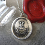 Wax Seal Necklace Double-Headed Eagle - antique Truth Conquers motto wax seal jewelry