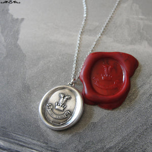 Wax Seal Necklace Double-Headed Eagle - antique Truth Conquers motto wax seal jewelry - RQP Studio