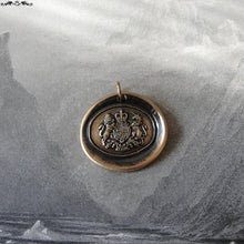 Load image into Gallery viewer, Bronze Wax seal pendant - British Royal Coat of Arms crest - RQP Studio