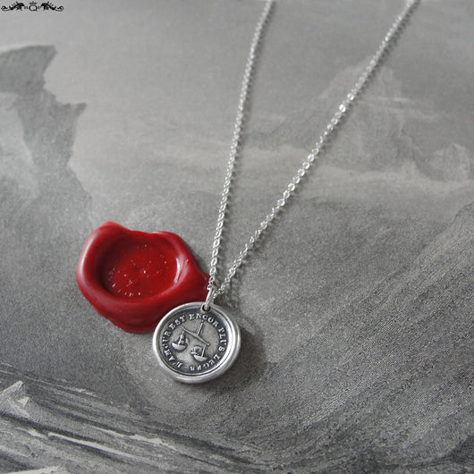 Wax Seal Necklace Love Is Light - antique French wax seal jewelry charm with scale cupid and butterfly