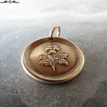 "Load image into Gallery viewer, Pansy Wax Seal Charm - antique wax seal jewelry pendant - Language of Flowers - Heart's-Ease ""In My Thoughts"" - RQP Studio"