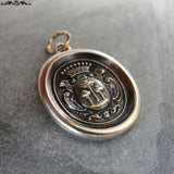 Wax Seal Charm Tree of Life - antique wax seal jewelry pendant- heraldic crest
