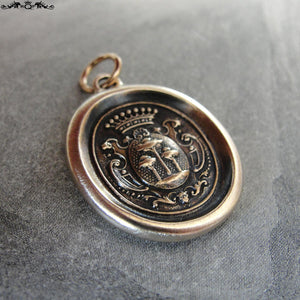 Wax Seal Charm Tree of Life - antique wax seal jewelry pendant- heraldic crest - RQP Studio