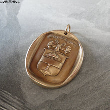 Load image into Gallery viewer, Wax Seal Charm - Flourish - antique wax seal jewelry pendant with Latin Strength motto tree crest - RQP Studio
