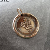 Daisy Wax Seal Charm - antique wax seal jewelry pendant Language of Flowers - Beauty Innocence