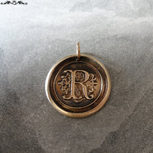 Load image into Gallery viewer, Wax Seal Charm Initial R - wax seal jewelry pendant alphabet charms Letter R - RQP Studio