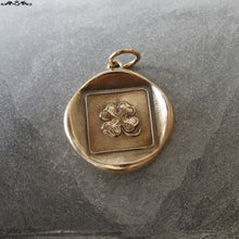 Load image into Gallery viewer, Shamrock Wax Seal Charm - Good Luck pendant - antique wax seal jewelry with lucky four leaf clover - RQP Studio