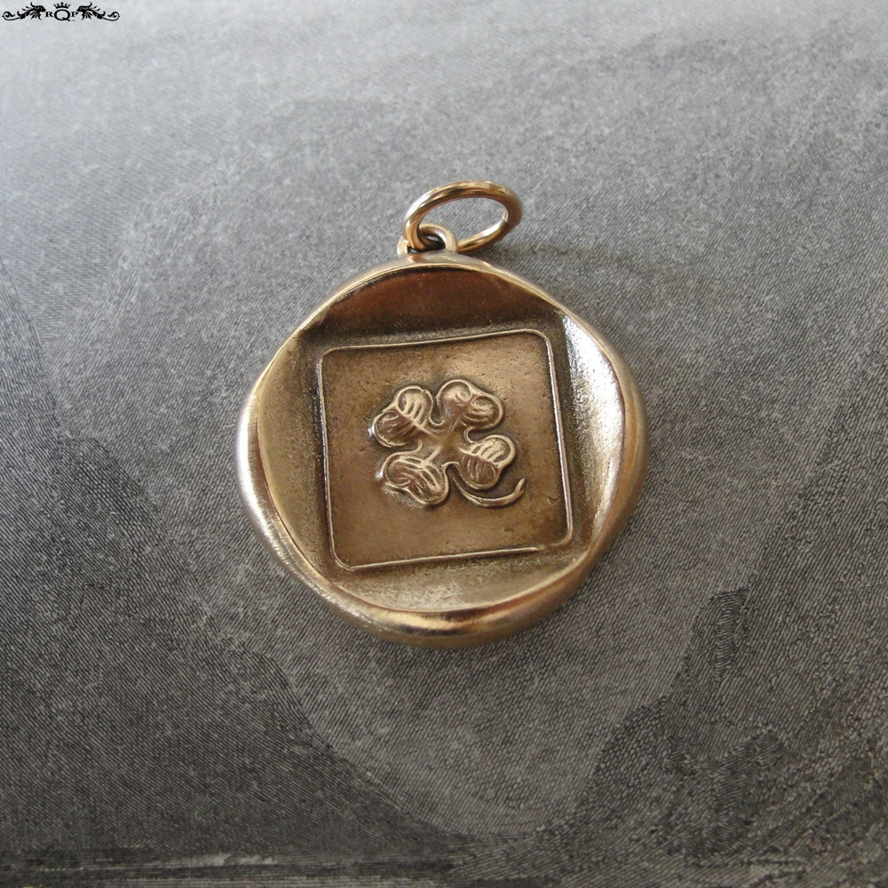 Shamrock Wax Seal Charm - Good Luck pendant - antique wax seal jewelry with lucky four leaf clover - RQP Studio