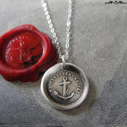 Wax Seal Necklace Do Not Despair - Hope anchor - antique wax seal charm jewelry