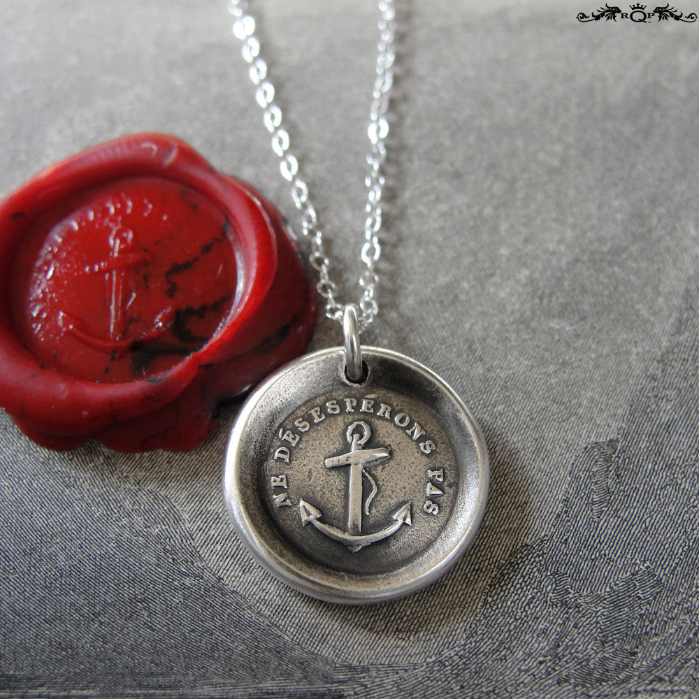 Wax Seal Necklace Do Not Despair - Hope anchor - antique wax seal charm jewelry - RQP Studio