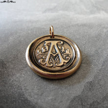 Load image into Gallery viewer, Wax Seal Charm Initial A - wax seal jewelry pendant alphabet charms Letter A - RQP Studio