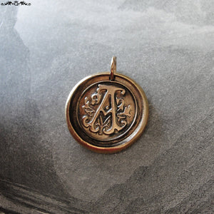 Wax Seal Charm Initial A - wax seal jewelry pendant alphabet charms Letter A - RQP Studio