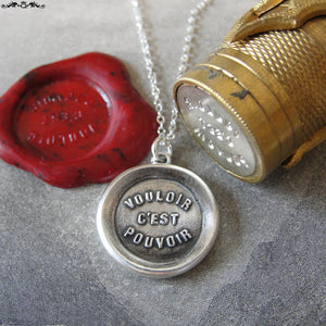 Where There's A Will There's A Way - Silver Wax Seal Necklace Proverb - RQP Studio