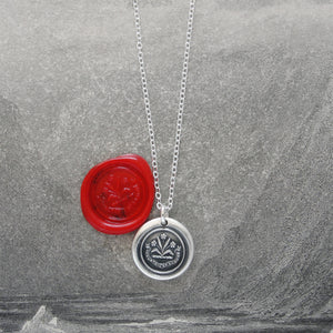 By Effort And Hard Work - Silver Wax Seal Necklace - Forget Me Not Flower