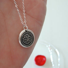 Load image into Gallery viewer, By Effort And Hard Work - Silver Wax Seal Necklace - Forget Me Not Flower