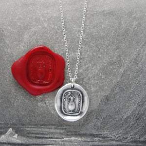 I Live But In Tears - Silver Rose Wax Seal Necklace With Sadness Quote - RQP Studio