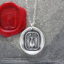 Load image into Gallery viewer, I Live But In Tears - Silver Rose Wax Seal Necklace With Sadness Quote - RQP Studio