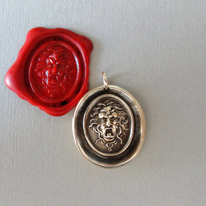 Medusa Wax Seal Pendant - Guardian Protectress - antique wax seal charm jewelry Greek Mythology Gorgoneion protective amulet