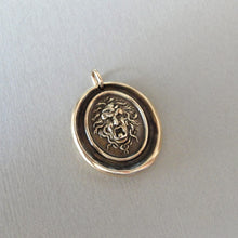 Load image into Gallery viewer, Medusa Wax Seal Pendant - Guardian Protectress - antique wax seal charm jewelry Greek Mythology Gorgoneion protective amulet