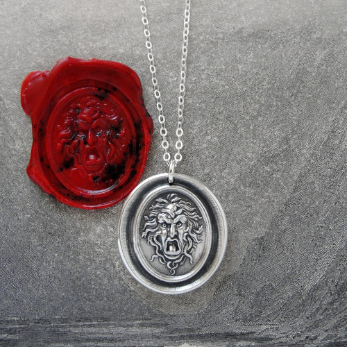Medusa - Silver Wax Seal Necklace - Guardian Protectress Gorgoneion Protective Amulet - RQP Studio