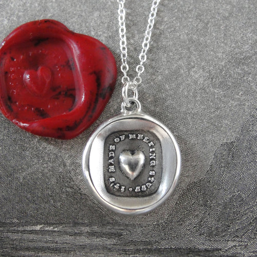 Heart Wax Seal Necklace In Silver - Made Of Melting Stuff - RQP Studio