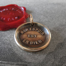 Load image into Gallery viewer, My Hope Is In God Wax Seal Pendant - antique wax seal jewelry charm Christian Religious Devotion - RQP Studio