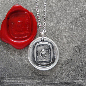 Never Ungrateful - Silver Sunflower Wax Seal Necklace - RQP Studio