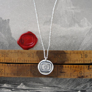 Star Silver Wax Seal Necklace - Guiding Light Protection Polaris Antique Wax Seal Jewelry - RQP Studio