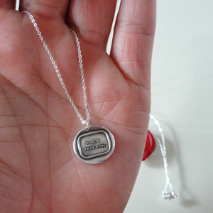 Know Thyself - Wax Seal Necklace In Silver With Latin Nosce Teipsum - RQP Studio