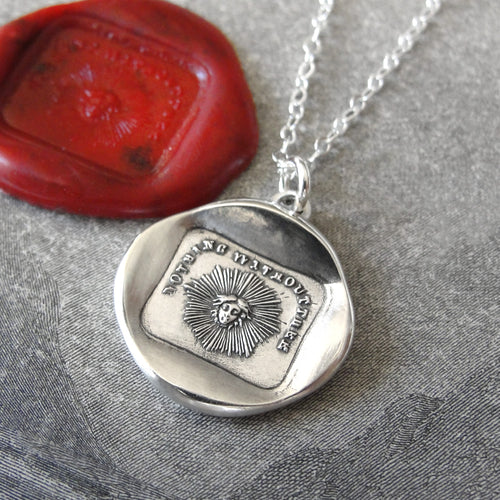 Silver Wax Seal Necklace Sun Face - Nothing Without Thee - RQP Studio