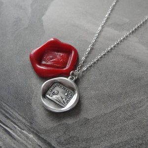 Nothing Without You - Silver Wax Seal Necklace With Sun Flower - RQP Studio