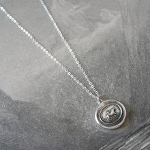Load image into Gallery viewer, Love Conquers All - Silver Wax Seal Necklace Cupid And Lion - RQP Studio
